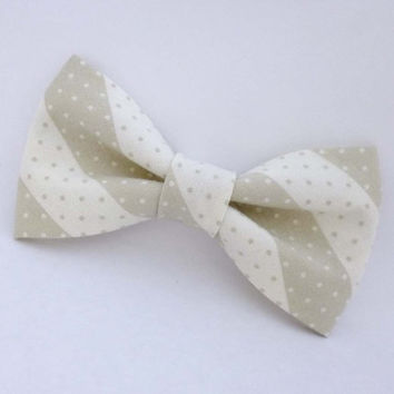 Mens bow tie cream, striped bow tie with dots, gray and white pre tied adjustable or clip on bow tie, cotton bow tie