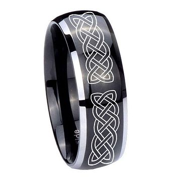 10MM Dome Glossy Black Middle Celtic Knot Two Tone Tungsten Men's Ring