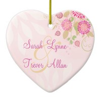 Custom Modern Floral Wedding Heart Ornament
