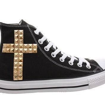 DCCK1IN studded converse converse black high top with gold cross pattern by customduo
