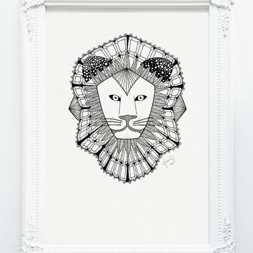 LION - Emerald Safari Series - Black and White A4 Print - Revive Recycled Paper