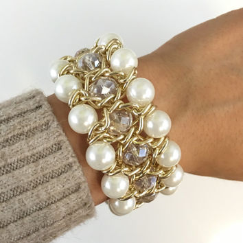 Bridal Bracelet, Pearl Bracelet, Beaded Crystal Bracelet, Chunky Pearl and Crystal Bracelet, Pearl Beaded Crystal Bracelet