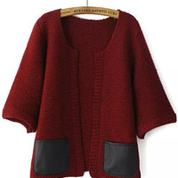 Red Contrast Leather Pockets Half Sleeve Knit Cardigan