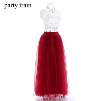 100cm New arrive Women Vestidos Long Tulle Skirts 2017 Floor Length Tutu Skirts adult Wedding Lolita Sashes Bridesmaid Skirts