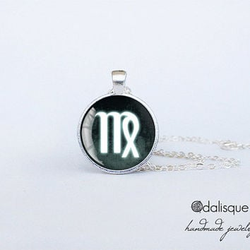 Virgo sign pendant European Zodiac necklace the maiden earth sign gift jewelry silver for him for her jewellery key ring