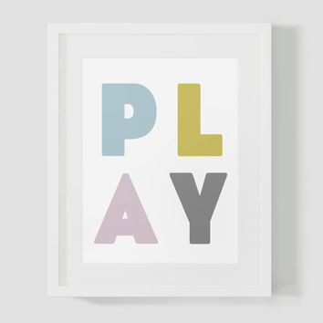 Colorful PLAY Block Letters Wall Art 8x10 16x20 Typography Poster Print