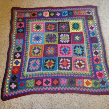 "Llama Yarn Crocheted ""Wild Granny"" 45"" Square Afghan Lapghan  Bright And Bold"