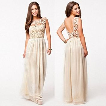 Leshery Sexy Women Summer Boho Long Maxi Evening Party Dress Lace Floral Dress Beach Dresses Chiffon Dress (XXL, beige)