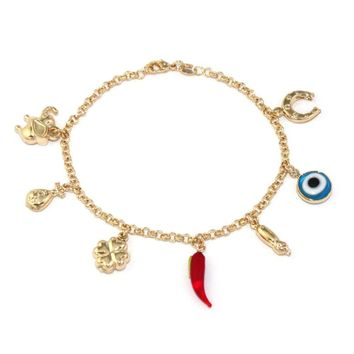 14k Gold Filled Bracelet Chain Evil Eye Protection Love Abundance Lucky Charm 8""