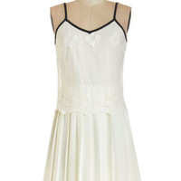 ModCloth Vintage Inspired Short Spaghetti Straps A-line So Fresh and Pristine Dress