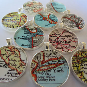 Custom Map Ornament with Beaded Christmas Hooks; Personalized ornament charm for the Holidays, mother daughter Ornament Gift