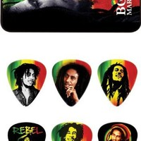 Dunlop BOBPT01M Bob Marley Rasta Pick Tin, Assorted, Medium, 6 Picks/Tin