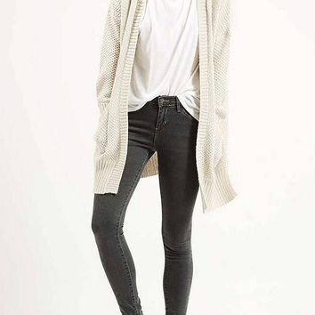 White Slouchy Chunky Knit Cardigan