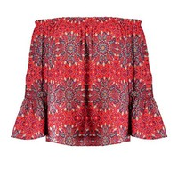 Boohoo Womens Plus Size Layla Woven Paisley Off The Shoulder Top