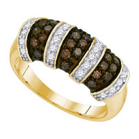 Cognac Diamond Fashion Ring in 10k Gold 0.75 ctw
