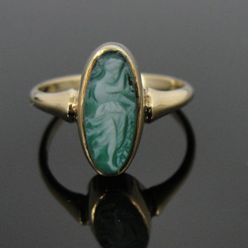 Antique Victorian Art Nouveau, Dancing Muse Green Stone Cameo Ring RGCA203D