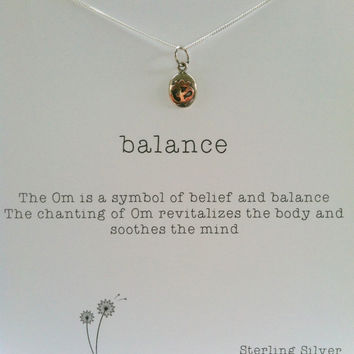 Sterling Silver and Gold Om Necklace, Balance, Best Friend Gift, Yoga,