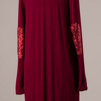 Long Cardigan with Sequin Elbow Patches - Wine