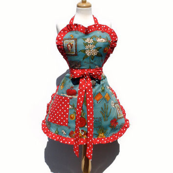 Blue and Red  Frida Apron