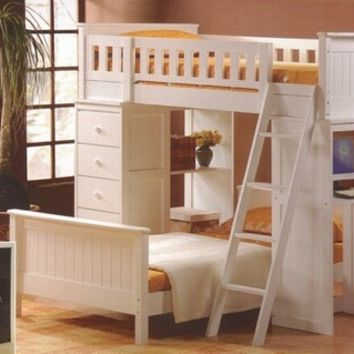 A.M.B. Furniture & Design :: Bedroom furniture :: Bedroom Sets :: Bunk Bed Sets :: White or espresso finish wood loft bunk bed set desk and drawers