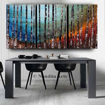 "Painting LANDSCAPE TREE PAINTING, 72"" Birch Tree Art Landscape paintings on canvas acrylic abstract original large painting Wall art decor"