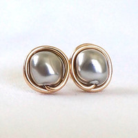 New Light Grey and Gold Stud Earings, Baroque Pearl Earrings, Wire Wrapped Jewelry Handmade, Swarovski Grey Pearl Earrings, Gift for Her
