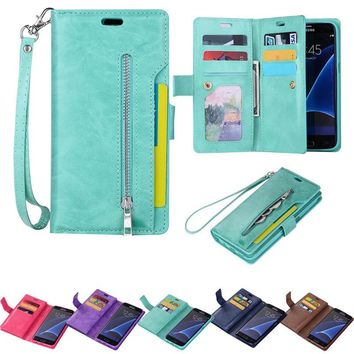 For Samsung Galaxy S7/S7 Edge/S8/S8 Plus/Note 8 iPhone 6/6S/6 Plus/6S Plus/7/7Plus/8/8 Plus/X Phone Case Cover Card Wallet Flip