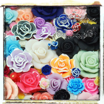 25 PCS Assorted Flower Cabochon Mixed Roses Cabochon Big Small Polymer Clay Flatback Sets Resin Mix Color diy Deco kit Nail Art Making AK.FL