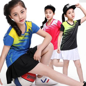 Girls tenis masculino,Kid table tennis shirt,volleyball table tennis Skirts,Child badminton shirt + Skorts tennis Suits Clothes