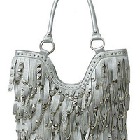 Fringe Leather Designer Fashion Bling Rhinestone Stud Trendy Purse Handbag White