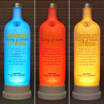 Absolut Citron Vodka Color Changing Remote Controlled LED Bottle Lamp Bar Light Bodacious Bottles-
