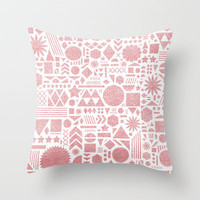 Modern Elements with Bubble Gum. Throw Pillow by Nick Nelson | Society6