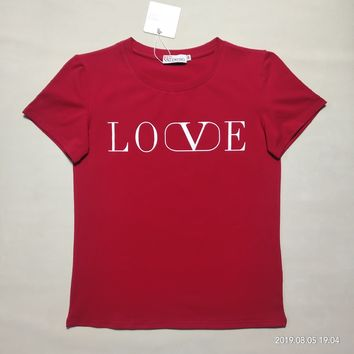 """""""Valentino""""Women Casual Fashion Simple Letter Round Neck Short Sleeve T-shirt Top Tee"""
