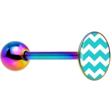 Turqouise and White Chevron Rainbow Anodized Barbell Tongue Ring