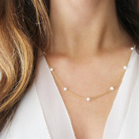 Modern Pearl Necklace   14kt Gold Filled   Freshwater Pearls