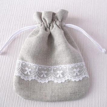 Set of 100 linen drawstring bags with white lace Eco friendly linen light grey small fabric gift pouches