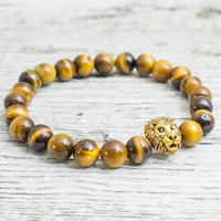 Tiger eye stone beaded gold Lion head stretchy bracelet, yoga bracelet, mens bracelet, womens bracelet