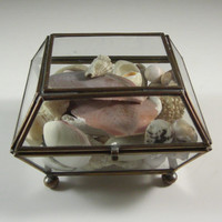 Glass Jewelry Casket full of Seashells // Trinket Dresser Box // from UBlinkItsgone