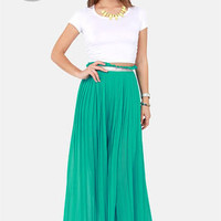 LULUS Exclusive Right Pleats, Right Time Teal Maxi Skirt