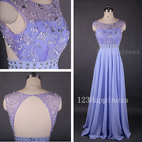 purple prom dress ,Long Chiffon Prom Dresses,  Beading prom Dresses ,Sexy Evening Paty Dresses,Bridesmaid Dress.PD05