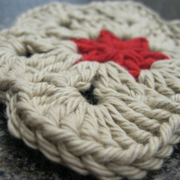 Crochet Coaster - African Flower Coasters - Set of Four Taupe & Barn Red Coasters or Face Scrubbies