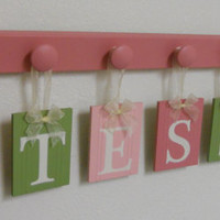 Wood Letters - Wood Names Set Includes TESSA with FLOWERS Hanging Wall Ribbon Letters and 7 Wooden Pegs - Light Green and Pinks.