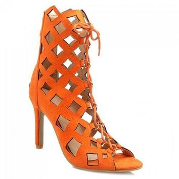 Lace Up Heeled Caged Sandals - Orange Red 39