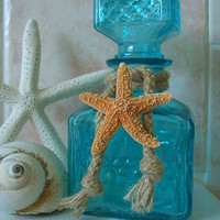 Home Decor Tiffany Blue Starfish Decorative Glass Bottle-Beach House Shabby Chic, Mother's Day Gift Ideas, Unique gifts, Hostess Gift Ideas