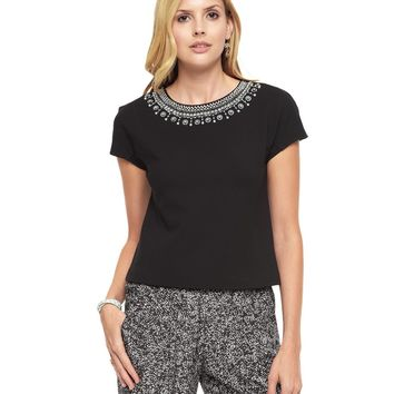 Pitch Black Ponte Embellished Top by Juicy Couture,