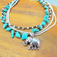 Elephant  Charm Anklet - Multi Strand Silver Color Bead with Turquoise Ankle Bracelet add Elephant Charm