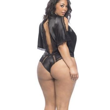 Bridgette Plus-Size Draped Satin Teddy