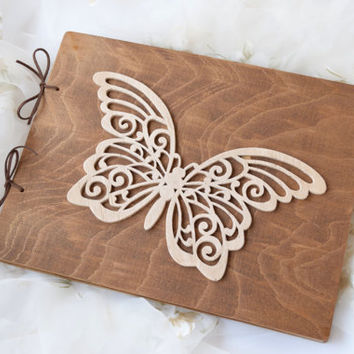 Guest Registry Book,Wood Personalized Notebook,wooden sketchbook,Photo Album,baby shower,Custom Wedding Book,Carved farm wedding,butterfly