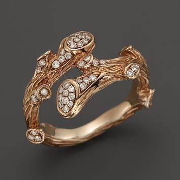 Michael Aram 18K Rose Gold Twig Wrap Ring with Diamond Accents