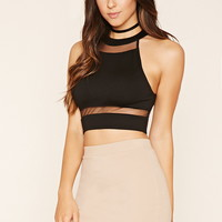 Mesh-Paneled Crop Top